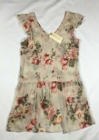 NWT Women's Band of Gypsies Semi-Sheer Floral Tunic Top-Size S