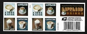 #5569-5972a  Espresso Drinks (forever) 2021 Issue - MNH Booklet Pane of 20