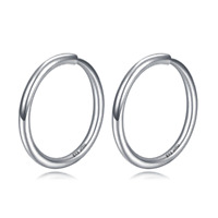 New Solid Platinum 950 Hoop Earrings Shiny Circle Earrings For Lady 10mm