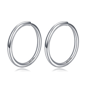 Solid Platinum 950 Hoop Earrings Shiny Circle Earrings For Lady 10mm Stamp Pt950