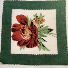 #6011🌟Vintage AUTUMN 40s FLORAL Handkerchief-Giant CINNAMON Poppy Green Border