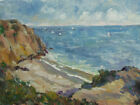 Art Oil Original Painting RM Mortensen Seascape Coastal Beach Sailboats