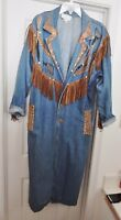 CACHE Western Jean Long Coat Denim Suede Leather Fringe Embellished Blue M (?)