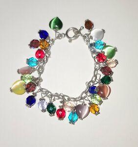 "Vintage Sterling Silver Charm Crystal & Cat's Eye Heart Charm Bracelet 7"""
