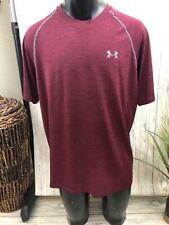 Under Armour Mens Xl Workout Shirt Maroon Loose Fit