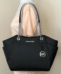 Michael Kors Jet Set Chain Black MK Logo Large Shoulder Tote Bag