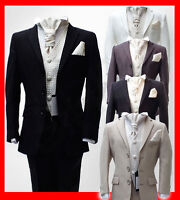 5 Piece Italian Cut Wedding Suits Black Navy Ivory Beige Grey Page Boy Suit