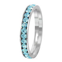 Stainless Steel Eternity Aquamarine Crystal March Birthstone Stackable Ring 3MM