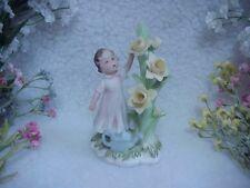 Lefton February Girl Standing Next To Daffodil Flower Tree