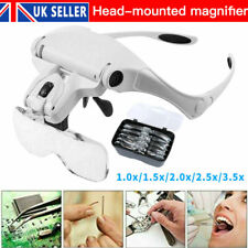 Lightweight Magnifier Head Light 2 LED Adjustable Magnifying Glass with 5 Lens