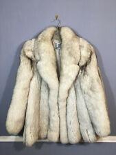 Outstanding! lush & full BLUE FOX fur jacket white gray medium coat
