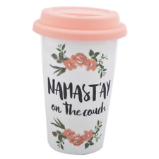 Lux Accessories Pink White Flower Namast'ay on the Couch Travel Coffee Mug Cup