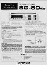 Pioneer SG-50 Stereo Graphic Equalizer Operating Instruction EQ - USER MANUAL
