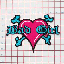 """""""BAD GIRL"""" Heart & Bones Logo Embroidered Iron-On Patch for Jackets etc"""