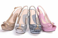 NEW WOMENS LADIES PROM STRAPPY HIGH HEELS PEEP TOE PLATFORM PARTY SHOES SIZE 3-8