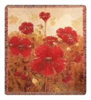 Garden Red Poppies Floral Woven Cotton Soft Tapestry Throw Blanket Afghan NEW