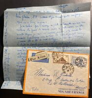 1934 Paris France Airmail Cover to Hanoi Vietnam Indochina Via Air France
