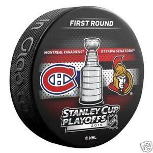 MONTREAL CANADIENS v OTTAWA SENATORS 2015 Playoffs Round 1 NHL DUELING LOGO PUCK