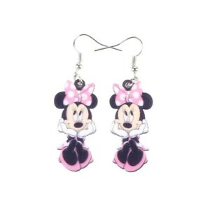Acrylic Printed Minnie Mouse Cartoon Statement Silver Drop Earrings in Pink