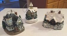 Set of 3 Thomas Kinkade Light Up Christmas House Ornaments