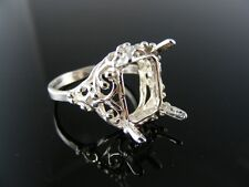 R71 RING SETTING STERLING SILVER, SIZE 8.75, 14X12MM EMERALD STONE