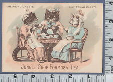 C553 Jungle Chop Formosa Tea trade card anthropomorphic cat tea party feline fun