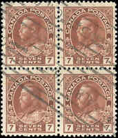 Canada Used F+ BLOCK of 4 Scott #114 1911-25 7c King George V Admiral Stamps