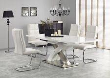"""""""SANDOR 2"""" White High Gloss & White Glass Top Extending Dining Table 160 - 220cm"""