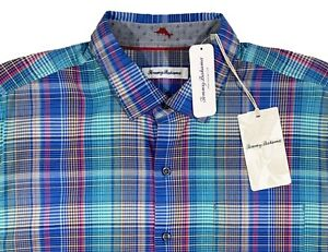 Men's TOMMY BAHAMA Colors Plaid Cotton Silk + Shirt XXL NEW NWT Beautiful!