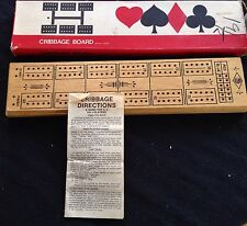 Vintage Cribbage Board in original box With Pegs And Original Instruction Book
