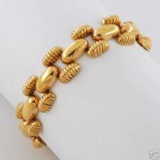 "1940's Retro Modern 18K Solid Rose Gold Arch Triple link Bracelet 7.25"" Long"