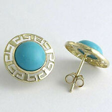 14K SOLID GOLD ROUND TURQUOISE GREEK KEY EARRINGS #E507