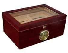 The Berkeley 100 Cigar Desktop Humidor - Glass Top w/ Cherry Finish