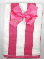 Personalized Embroidered Shocking Pink Striped Cabana Beach Towel and Bow Set