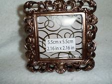 "Beautiful Bronze Color Square Table Top Frame - Photo Size is 2.16"" x 2.16"""