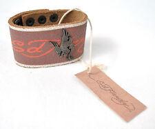 Ed Hardy Phoenix Brown Bracelet Studded Leather New