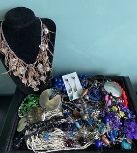 job lot costume jewellery used Big Lot Mixed Beads Necklaces All Wearable