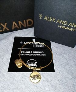Alex and Ani Young & Strong Russian GOLD Bangle, Gift  Box & Card Tags Attached