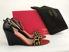 Kate Spade Amanda Leopard Calf-Hair/Black leather Wedge Ankle Strap Sandal 9