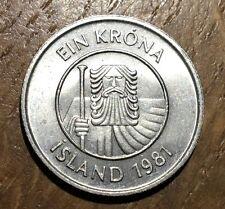 PECE DE 1 COURONNE KRONE ISLANDE ICELAND 1981 (124)