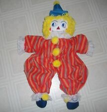 "25"" RAGGEDY ANN OR ANDY DOLL~HAND MADE~CLOWN COSTUME~EMBROIDERED FACE & HEART"