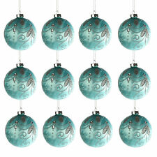 Jingles Box of 12 Luxury 80mm Glass Christmas Tree Baubles - Turquoise with Gems