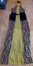 Backless strappy MAXI DRESS Size 14 Laura Paris Navy Lime Beach Wedding outfit