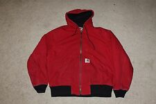 CARHARTT Full Zip Up Canvas Work Jacket Winter Coat Men's Medium M Red Hooded