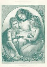 1892 FINE ART Antique Print - Christmas Stories Walker Girls Book Holly (300)
