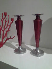 SAMARA DUSK RED PILLAR CANDLE STICK HOLDERS SILVER BASE