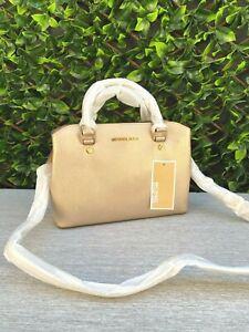 BNWT MICHAEL KORS SAVANNAH Leather Small Shoulder Bag Handbag Satchel Gold
