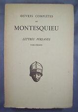 MONTESQUIEU / LETTRES PERSANES T1 / établi et présenté par Elie Carcassonne 1929