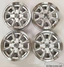 4 X Minilight Alloy wheels for MG Midget  , polished lip