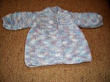 NEW HAND KNITTED BABY JACKET BLUE'MAUVE & WHITE PREMMI